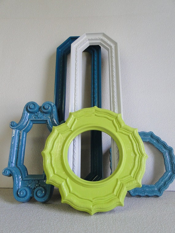 "Frame mirror set collection gallery wall teal turquoise lime green white ""Dew Drop Mirrors"""