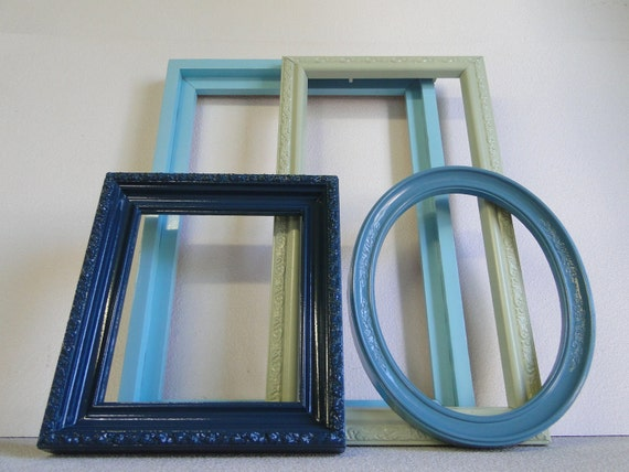 """Frame set collection shelf grouping gallery wall green blue teal turquoise """"Seaside Frames"""""""