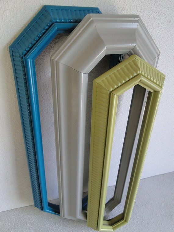 """Frame mirror set collection gallery wall teal turquoise green gray """"Sea Monster, Mirrors"""""""