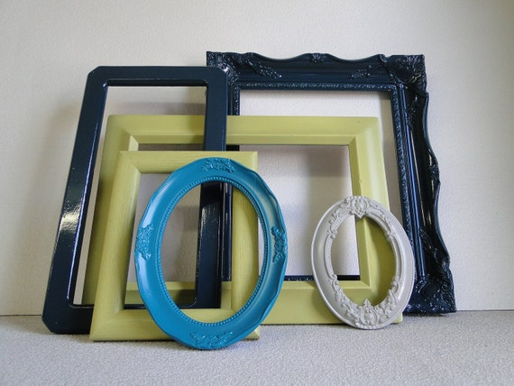 Frame set collection shelf grouping gallery wall blue teal turquoise ...