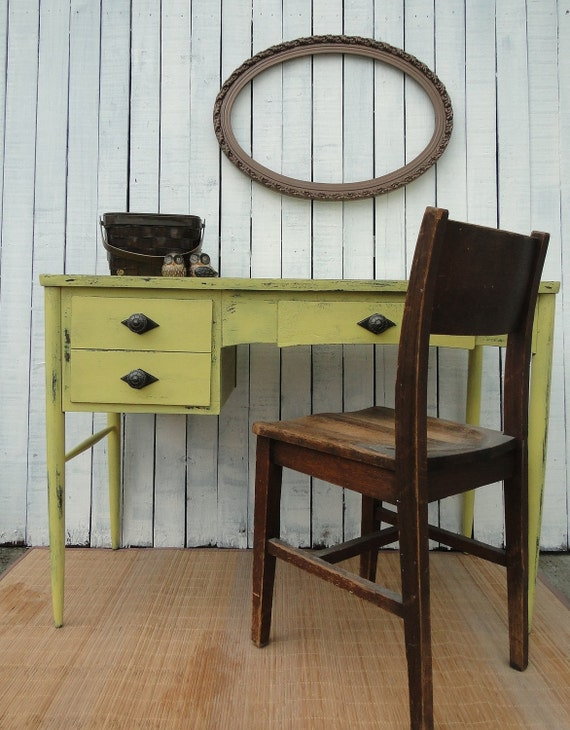 Vintage Modern Wooden Desk Vanity Entry Way Table in Distressed yellow with drawers French Country Paris Apartment beach cottage shabby chic