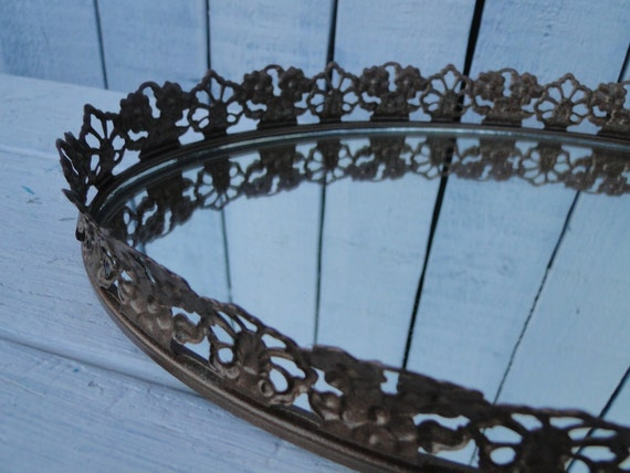 Vintage Ornate Baroque Oval Mirrored vanity make-up tray Romantic Bedroom Hollywood Regency Paris Apartment French Country Vintage Copper