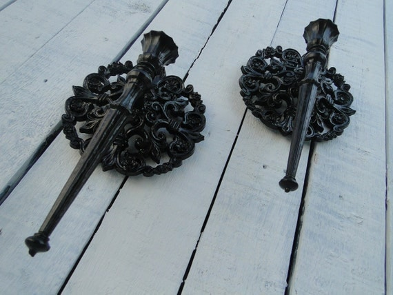 """Pair of Vintage Round Candle Sconces Gothic painted in Oil Rubbed Bronze """"Bronze Sconces"""""""