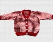 Hand Knit Red & White Stripe Child/Baby Cardigan Sweater