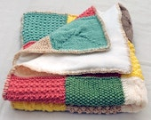 Hand Knitted Baby Blanket Yellow, Green, Pink & Beige - Size 26 x 24 inches