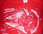 Star Wars millennium falcon Tee Men's  S-XL Red