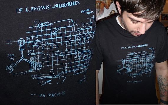 Back to the Future Delorean Time Machine schematic graphic Tee M