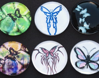 Butterfly glass art magnets set of 6