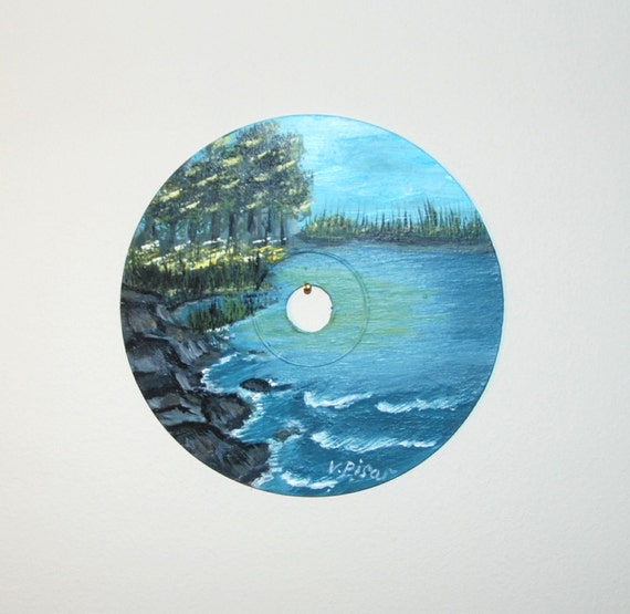 Landscape original Painting (Acrylic) on Compact Disc (with holder)