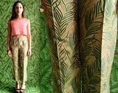 Vtg 90s Tailored Silk, Tropical Striped Fern Leaf, Plant Print Trousers / Shiny Tropical Dress Pants