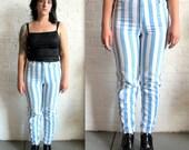 Vtg 90s Blue and White Stripe High Waisted Jeans / Denim Blue Jeans /