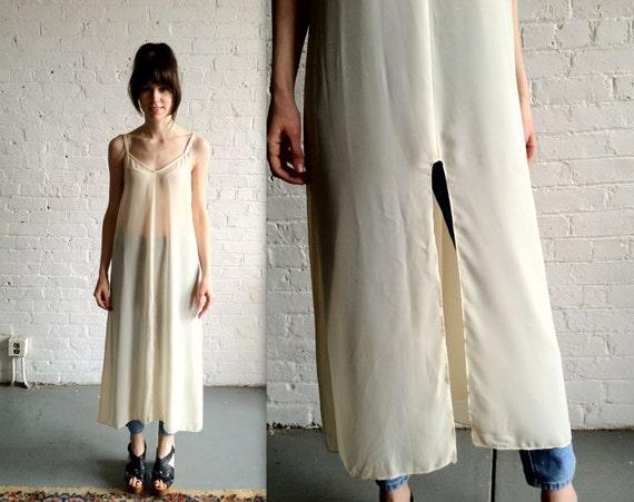 Vtg 90s Sheer Sleeveless Cream Dress Tunic By