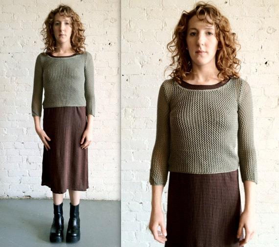 Vtg 90s Grunge Loose Knit Moss Green Sweater / Spring Summer Sweater