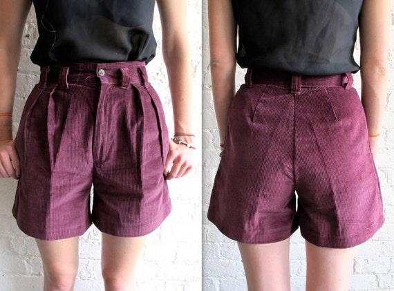 Vtg 90s High Waist Corduroy Shorts / Altered Burgundy Pleated Shorts / 26 Waist