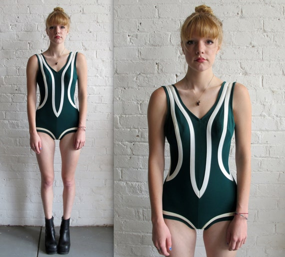 Vtg 60s 70s Green & White One Piece Swimsuit / Classic Bombshell Bathing Suit