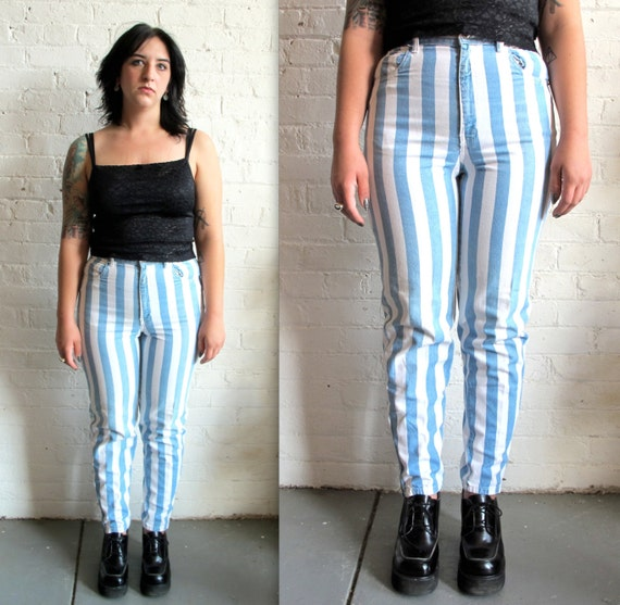 Vtg 90s Blue and White Stripe High Waisted Jeans / Denim Blue Jeans /