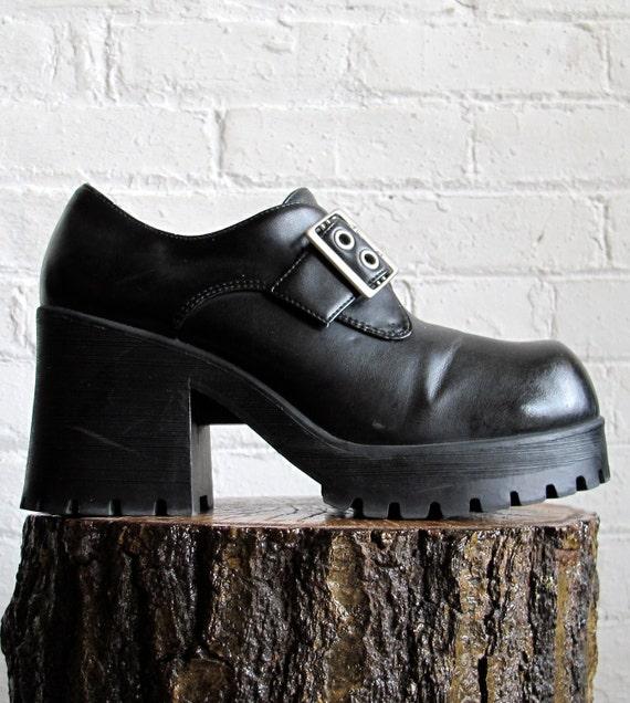 Vtg 90s Black Chunky High Heel Platform Shoes / Buckle Ankle Boots / Women's Size 10 US - 42 - 7.5 UK Eur -