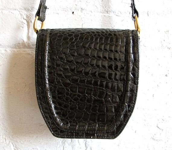 Vtg 90s Faux Alligator Skin Shoulder Bag / Sling Bag / Purse