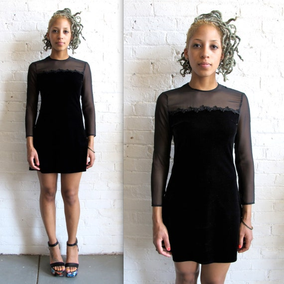 Vtg 90s Sheer Black Velvet Mini Dress / Little Black Dress / Party Dress