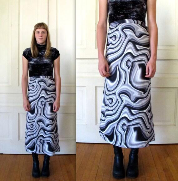 Vtg 90s Psychedelic Maxi Skirt / Abstract Liquid Metal Swirl Skirt