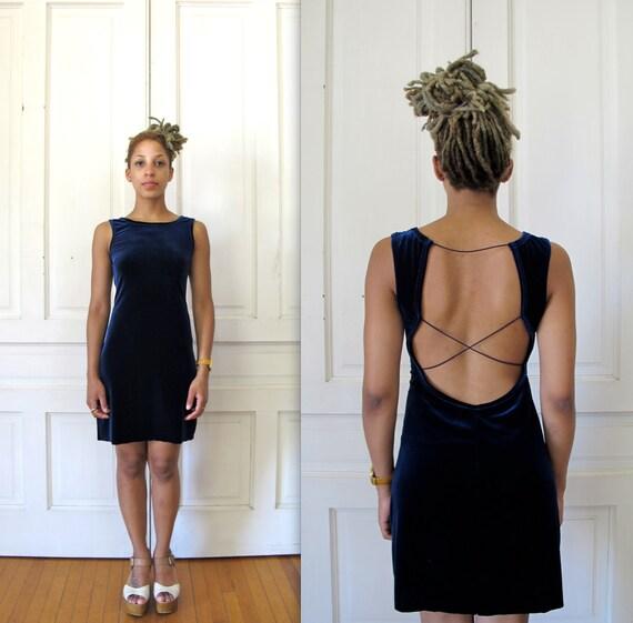 Vtg 90s Blue Velvet Dress With Back Cutout / Minimalist Party Dress