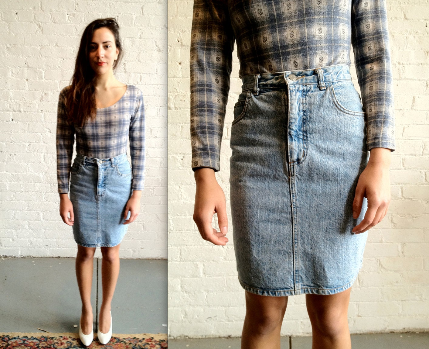 Vtg 90s High Waisted Denim Skirt By Guess Jeans 28