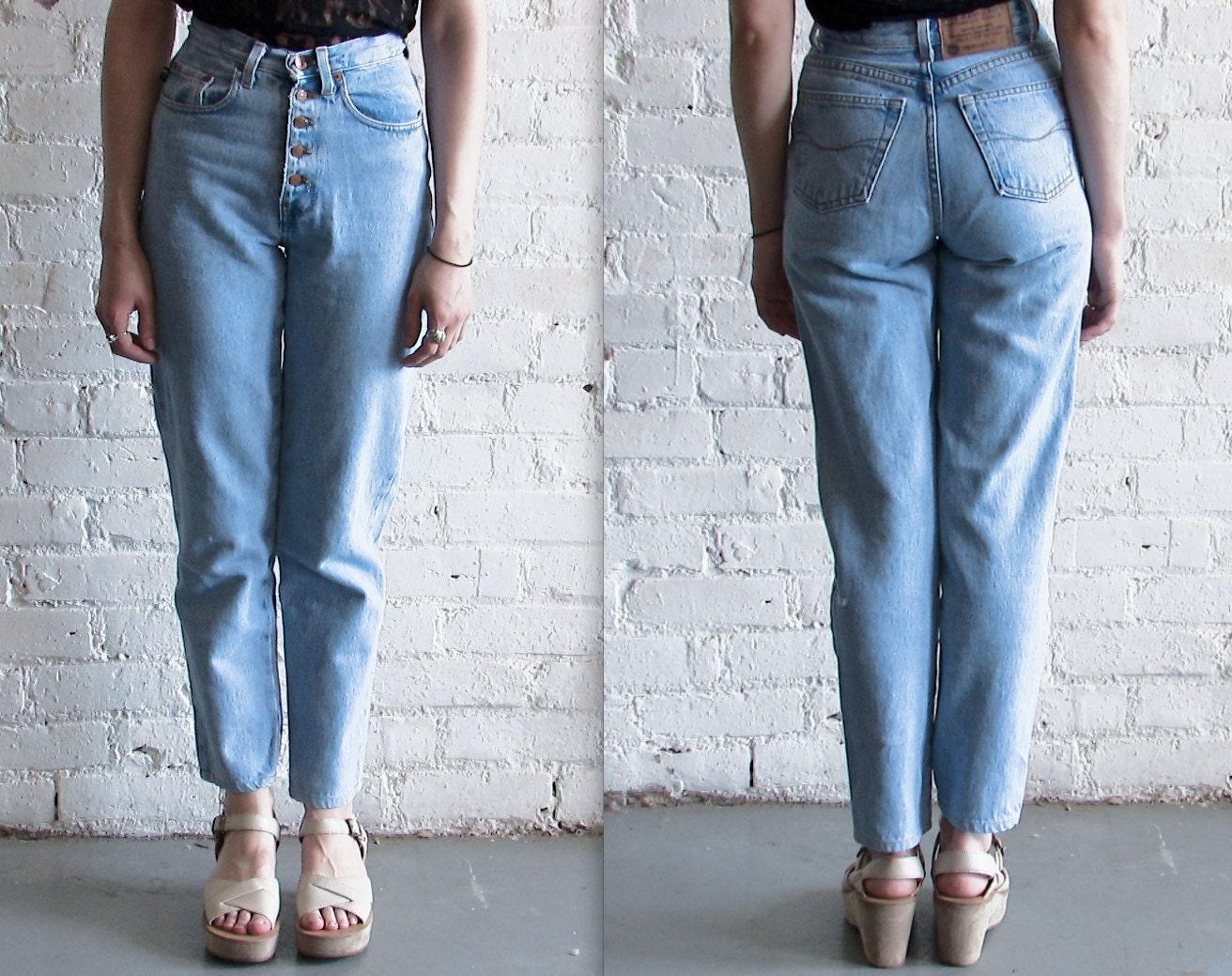 Vtg 90s Acid Wash Grunge High Waist Tapered Jeans / 24 Waist