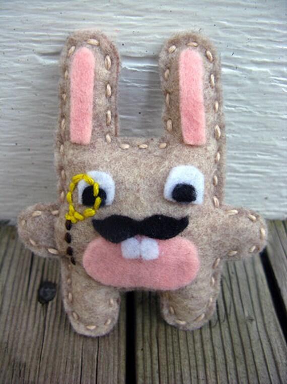 Monocle Moustache Rabbit Pin