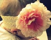Cream & Pink Flower Headband with Pearl