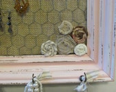 RESERVED LISTING for GINNY- Pink Shabby Chic Distressed Jewelry & Earring Holder Organizer Display Frame