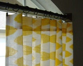 Pair of Yellow and White Ikat panels 50 x 63 84 96 108 120 Decorative Designer Curtains Premier Prints