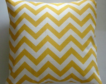 Yellow Pillows, Chevron Pillow Covers in Yellow and White Zig Zag 16 18 20 22 24 26 inch Removeable Cover