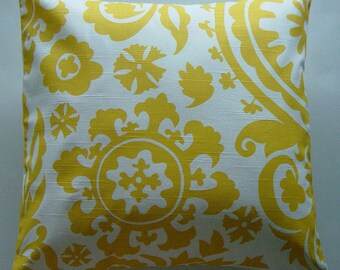 Yellow Pillow Cover in Yellow White Suzani 18 inch Removeable Cover Modern Contemporary