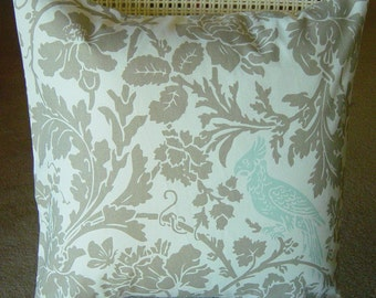 Decorative Toss Throw Pillow Robins Egg Blue Taupe Damask Removeable Contemporary Modern