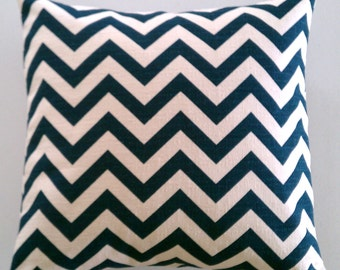 Pillow Cover in Navy and Cream Zig Zag Chevron 18 inch Removeable