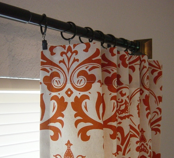 "Pair of Damask Sweet Potato & Natural Curtains 50"" x  63, 72, 84, 90, 96, 108, 120 Drapery Panels Traditions Choose Your Length Sale"