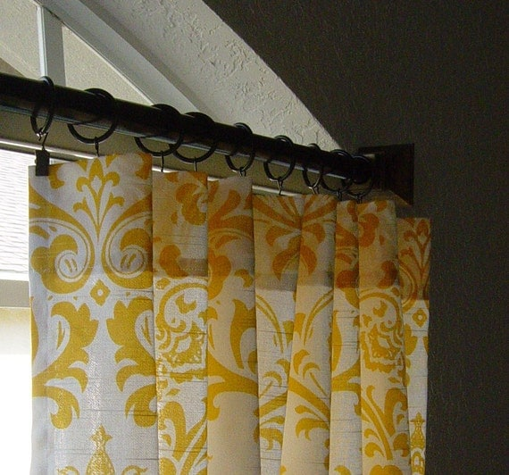 "Pair of Yellow and White Damask Traditions Curtain Panels 50"" x 63 84 96 108 120 Choose your length"