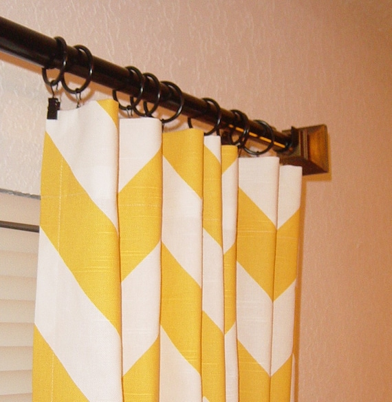 """Pair of  Yellow and White Bold Zig Zag Wide Chevron Curtains Custom Drapes Panels 50"""" x  84 96 108 120 Large Stripe"""