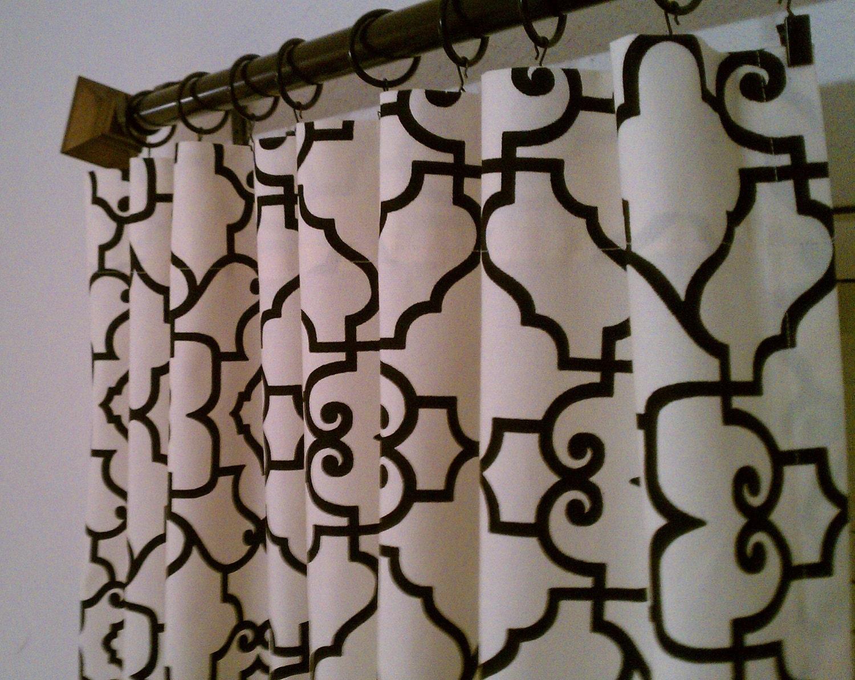 black cream trellis lattice quatrefoil curtains rod pocket
