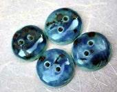 """Blue 2-Hole Porcelain Ceramic Buttons 7/8"""" or 2.20 cm"""
