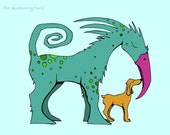 Bright Beast with Dog Print Blue Green