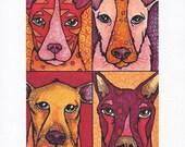 Giclee Dog Art Print, Whimsical Animals in Orange Red Pink