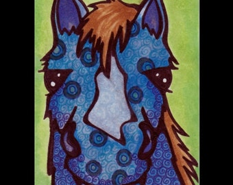 Blue Pony ACEO Original Ink Drawing Horse OOAK