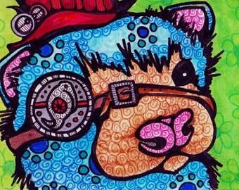 Steampunk Ferret Original ACEO Art OOAK