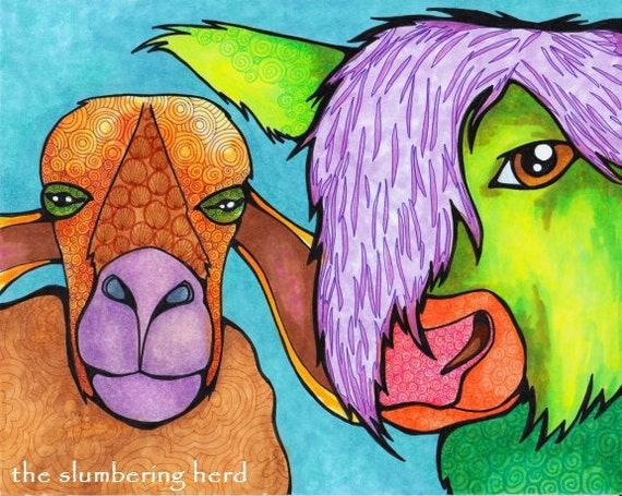 Sheep Cow Whimsical Beasts Bright Colors Original Art