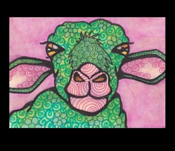 Green Sheep Pink Original ACEO Pen and Ink Art OOAK