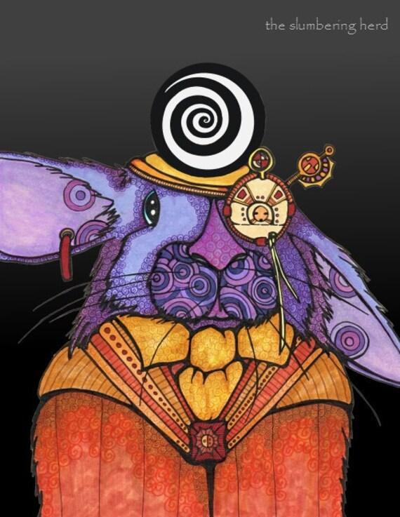 Steampunk Rabbit Art Print from Original Illustration 8x10
