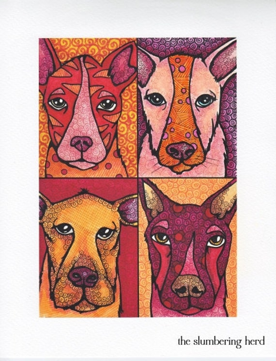 Giclee Dog Art Print, Whimsical Animals in Orange Red Pink