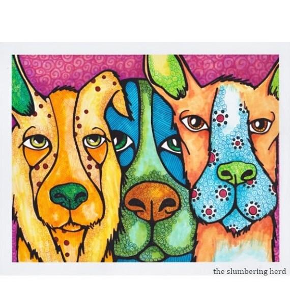 Goofy Dog Art Print, Whimsical Beasts from Original Illustration