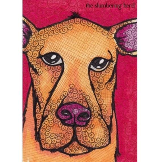 Original ACEO Dog, Red Orange Mixed Breed OOAK
